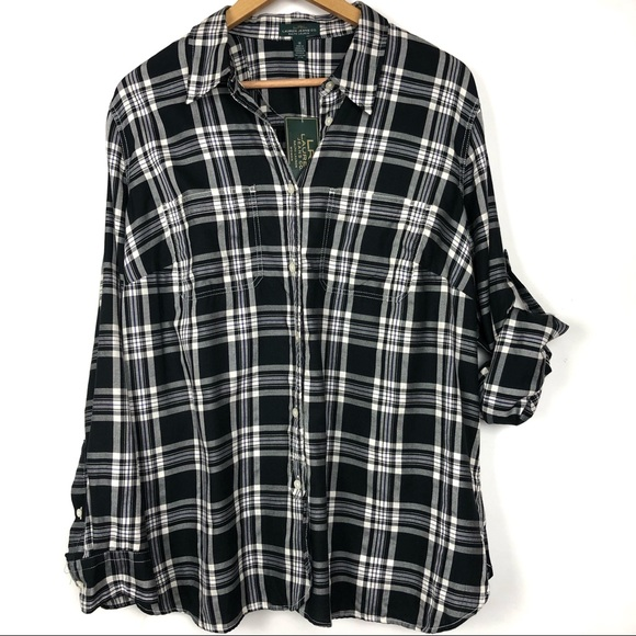 Red Plus Size Women Plaid Roll-Tab Sleeves Button-Down Top Shirt Tunic XL 2X 3X